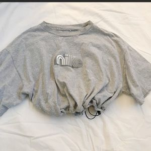 Grey Nike drawstring crop top